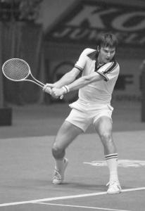 ABN-tennistoernooi in Rotterdam; Jimmy Corners in actie *5 april 1978